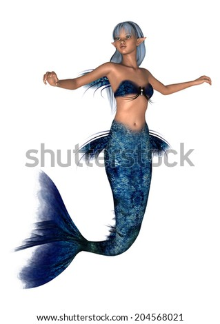 3D digital render of a beautiful fantasy mermaid isolated on white background - stock photo