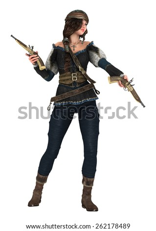 3D digital render of a beautiful female pirate holding guns isolated on white background - stock photo