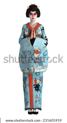 3D digital render of a beautiful geisha wearing traditional clothes isolated on white background - stock photo