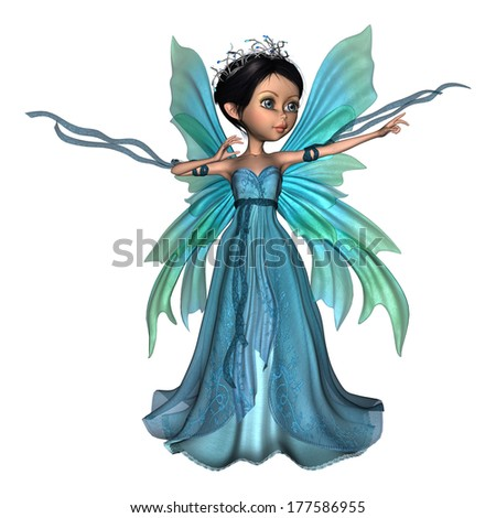 3D digital render of a beautiful little fairy butterfly isolated on white background - stock photo