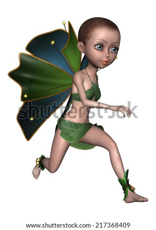3D digital render of a beautiful little fairy isolated on white background - stock photo