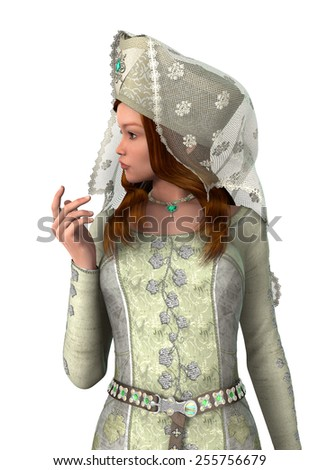 3D digital render of a beautiful medieval lady isolated on white background - stock photo