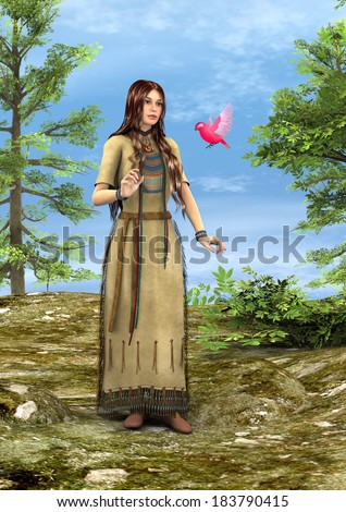 3D digital render of a beautiful native American woman with a pink bird in a green forest - stock photo
