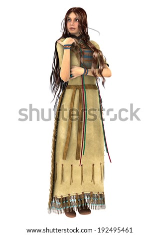 3D digital render of a beautiful native American young woman isolated on white background - stock photo