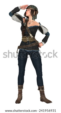 3D digital render of a beautiful piratess isolated on white background - stock photo