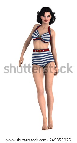 3D digital render of a beautiful vintage pinup girl isolated on white background - stock photo