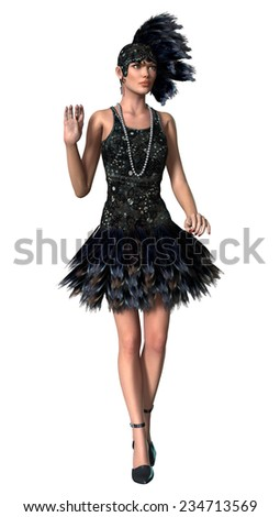 3D digital render of a beautiful vintage woman wearing 1920s style clothing isolated on white background - stock photo