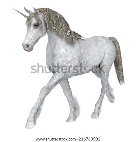 3D digital render of a beautiful white fantasy unicorn isolated on white background - stock photo