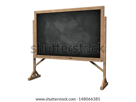 3D digital render of a blackboard with chalk and eraser isolated on white background - stock photo