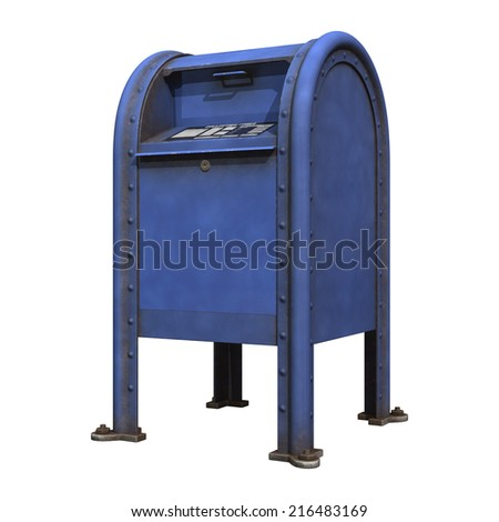 3D digital render of a blue post office mailbox isolated on white background