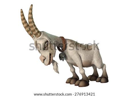 3D digital render of a cartoon goat ready to charge isolated on white background