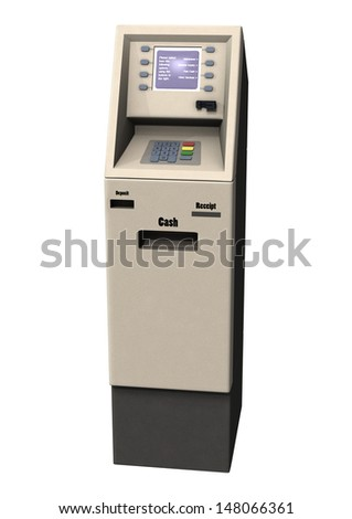3D digital render of a cash - atm machine isolated on white background - stock photo