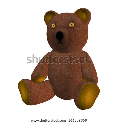 3D digital render of a children's toy teddy bear  isolated on white background
