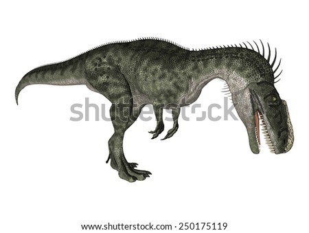 3D digital render of a curious dinosaur Monolophosaurus looking down isolated on white background