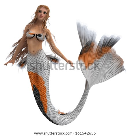 3D digital render of a cute mermaid isolated on white background - stock photo