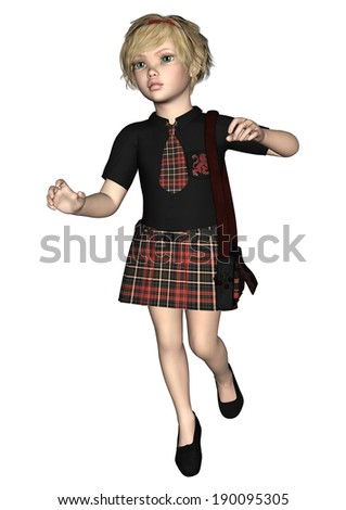 3D digital render of a cute running schoolgirl wearing an uniform isolated on white background - stock photo