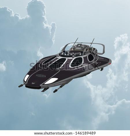 3D digital render of a dark spaceship on blue sky background - stock photo