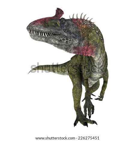3D digital render of a dinosaur Cryolophosaurus turning around isolated on white background - stock photo