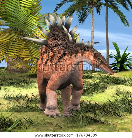 3D digital render of a dinosaur Kentrosaurus on background of green palm trees and blue sky