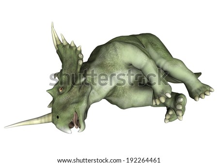 3D digital render of a dinosaur Styracosaurus or spiked lizard, a genus of herbivorous ceratopsian dinosaur from the Cretaceous Period (Campanian stage) isolated on white background - stock photo
