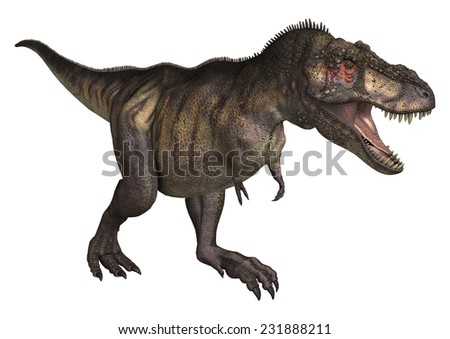 3D digital render of a dinosaur Tyrannosaurus isolated on white background - stock photo