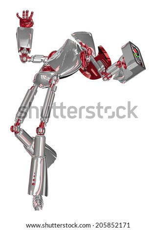 3D digital render of a droid being hit isolated on white background - stock photo