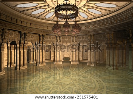 3D digital render of a fairytale oriental palace in the evening - stock photo