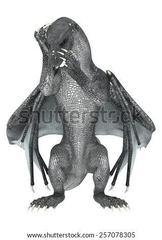 3D digital render of a fantasy dragon isolated on white background - stock photo
