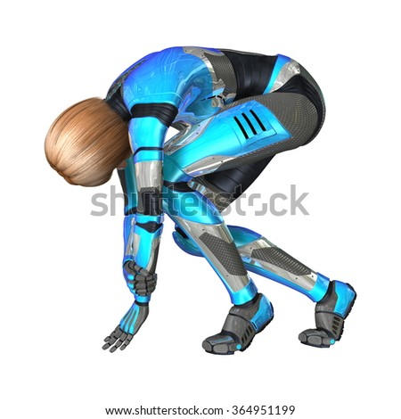 3D digital render of a female cyborg isolated on white background - stock photo