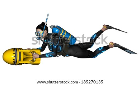 3D digital render of a female diver with a scooter isolated on white background - stock photo