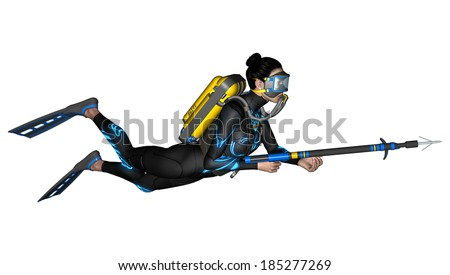 3D digital render of a female diver with a spear gun isolated on white background - stock photo