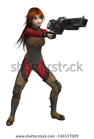 3D digital render of a female Super Hero holding a gun isolated on white background - stock photo