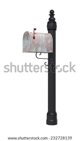 3D digital render of a flagged mailbox isolated on white background - stock photo