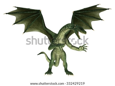 3D digital render of a green fantasy dragon isolated on white background - stock photo