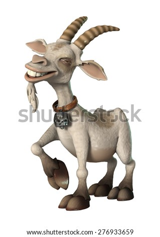 3D digital render of a happy cartoon goat isolated on white background