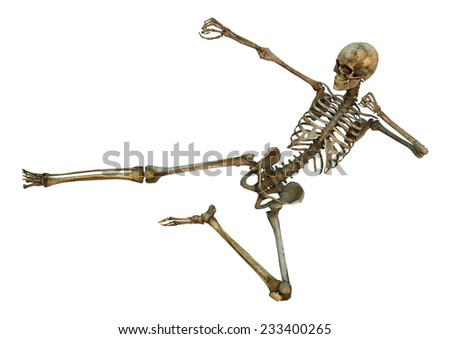 3D digital render of a human skeleton in a yoko-tobi geri martial arts position isolated on white background - stock photo