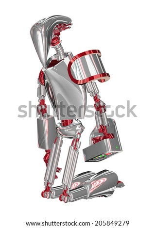 3D digital render of a kneeling droid isolated on white background - stock photo
