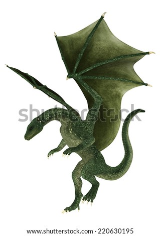 3D digital render of a landing green fantasy dragon isolated on white background - stock photo