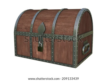 3D digital render of a locked treasure chest isolated on white background - stock photo