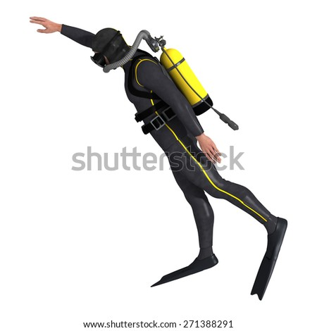 3D digital render of a male diver isolated on white background - stock photo