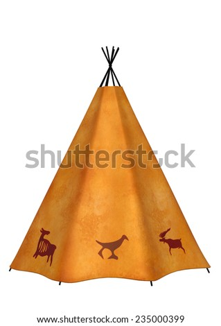 3D digital render of a native American wigwam isolated on white background - stock photo