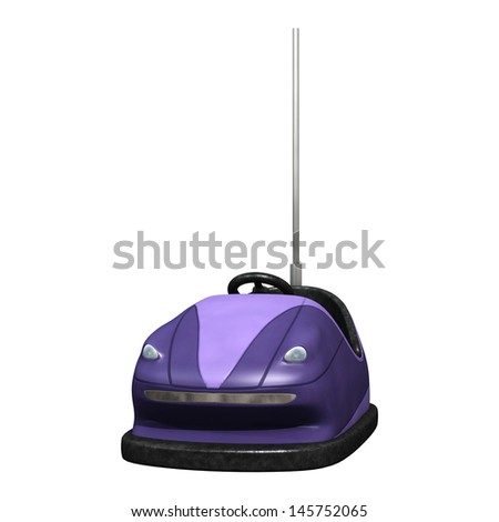 3D digital render of a purple bumper car isolated on white background - stock photo