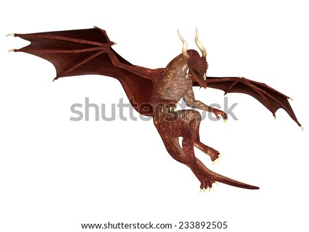 3D digital render of a red fairytale dragon isolated on white background - stock photo