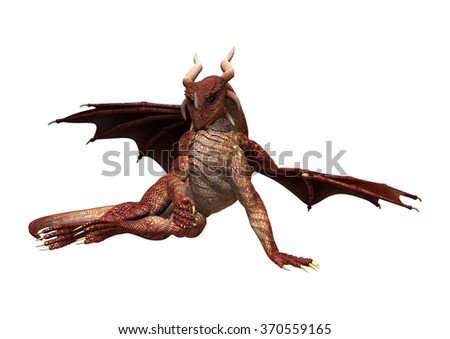 3D digital render of a red fantasy dragon isolated on white background