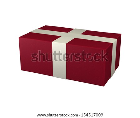 3D digital render of a red gift package isolated on white background