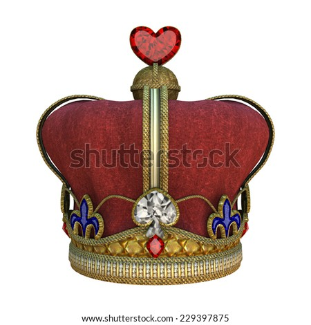3D digital render of a red kings crown isolated on white background - stock photo