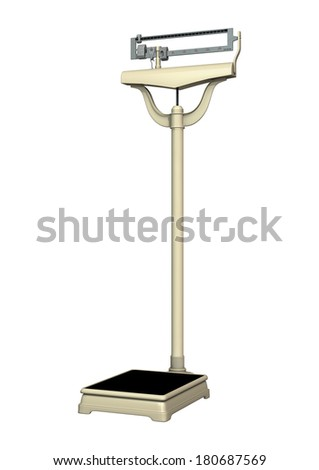 3D digital render of a retro floor scale isolated on white background - stock photo