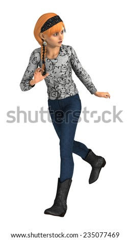 3D digital render of a running teenager girl isolated on white background