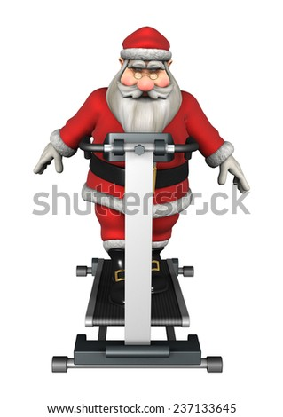 3D digital render of a Santa exercising on a tread mill isolated on white background - stock photo