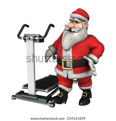 3D digital render of a Santa ready to exercise on a treadmill isolated on white background - stock photo